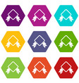 badge with ribbon icon set color hexahedron vector image