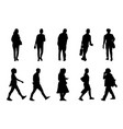 black people walking collection on white vector image vector image