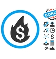 Business Fire Disaster Flat Icon with Bonus vector image vector image