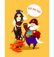 cartoon character pirate girl captain and crab vector image vector image