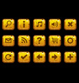 cartoon square gold old buttons vector image