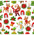 christmas santa gift and snowman seamless pattern vector image