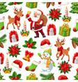 christmas santa gift and snowman seamless pattern vector image vector image