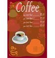 Coffee tea menu vector image vector image