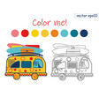 coloring book summer van vector image