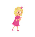 cute blonde girl in pink dress kids party concept vector image vector image