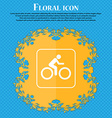 Cyclist icon Floral flat design on a blue abstract vector image