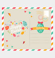 easter bright postcard with holiday elements vector image