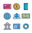 fintech set flat icons vector image