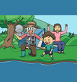 fishing and camping with mom and dad children vector image vector image