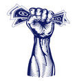fist holding up money vector image vector image