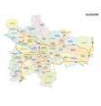 glasgow roads and neighborhoods map vector image vector image