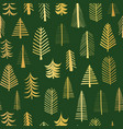 gold foil doodle christmas trees seamless vector image vector image