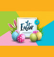 Happy easter holiday with painted egg rabbit ears