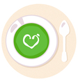 Healthy green Spinach love soup in circle vector image