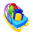 icon sled and gift vector image vector image