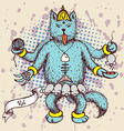 Kali indian god in cat cartoon vector image