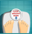 lose weight man standing on the scales vector image