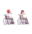 male female young wheelchair user face palm vector image