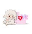 many cute lambls with a ball wool love vector image vector image