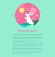 mid autumn festival flyer with cartoon moon rabbit vector image