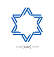 monocrome blue star from ribbon vector image vector image