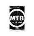mtb extreme on background wheel banner vector image vector image