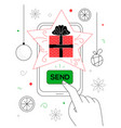 new year gift - line design style vector image vector image