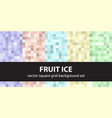 Pixel pattern set fruit ice seamless pixel art vector image