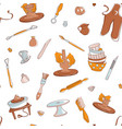 pottery studio seamless pattern background hand vector image
