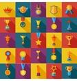 set flat awards icons vector image