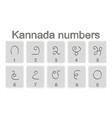set of monochrome icons with kannada numbers vector image