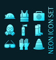 set safety equipment glowing neon icons vector image
