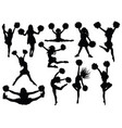 set silhouette cheerleaders collection vector image