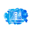 Skyline of San Francisco in watercolor vector image vector image