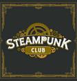 steampunk club golden logo design victorian vector image