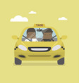 taxi car and taxi driver with businessman vector image