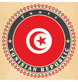 vintage label cards of tunisia flag vector image vector image