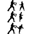 taekwondo practice silhouette vector image