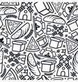 Bakery seamless pattern in thin line style vector image vector image