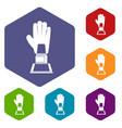 baseball glove award icons set hexagon vector image vector image