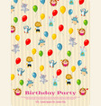 birthday party poster design - cartoon animals fly vector image vector image
