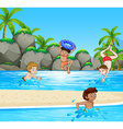 Boys having fun at the beach vector image vector image