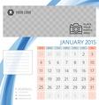 Calendar 2015 January template with place for vector image vector image
