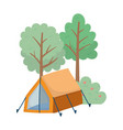 camping tent bush apples fruit foliage trees vector image