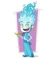 Cartoon jinn with blue fire-head vector image vector image