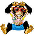 cheerful chimpanzee wearing sunglasses vector image