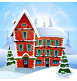 christmas with fabulous snowy red cottage at vector image vector image