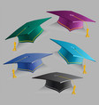 collection 3d education caps set of vector image