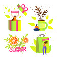colorful summer icons with typography clip art vector image vector image